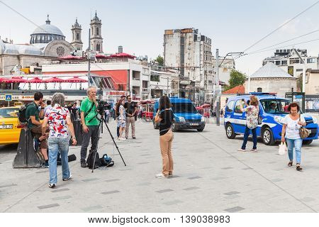 Reporters From Rai News 24 Work On Taksim Square