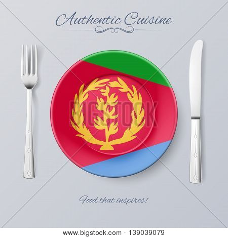 Authentic Cuisine of Eritrea. Plate with Eritrean Flag and Cutlery