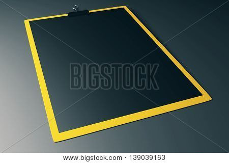 Yellow clipboard with black sheet of paper on grey background. Mock up 3D Rendering