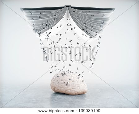 Education concept with information pouring out of book into brain on grey background. 3D Rendering