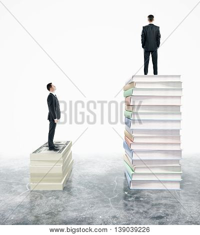 Two businessman standing on stack of book. 3D Rendering