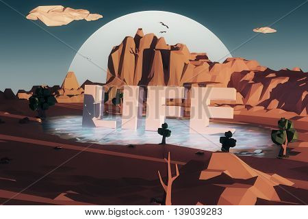 Abstract polygonal desert with mountains and voluminous text in pond. Life concept. Night sky and moon background. 3D Rendering