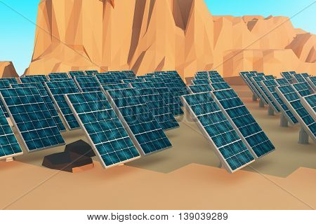 Closeup of solar panels in polygonal desert. 3D Rendering