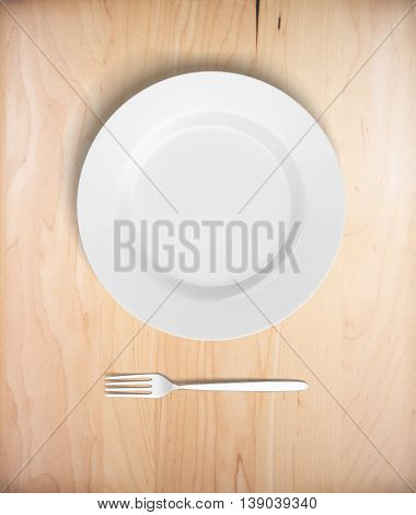 Top view of empty plate and fork on light wooden table. Mock up 3D Rendering