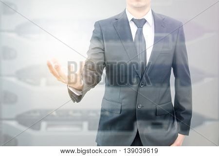 Double Expoure Of Hand Businessman And Servers Technology In Datacenter With Text Copy Space Above E
