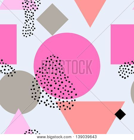 Boho neon seamless pattern with pink black ink ornaments. Geometric texture. Abstract background. Creative card, poster, paper