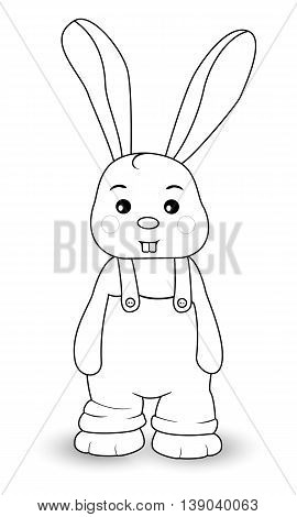 Rabbit boy in overalls on a white background