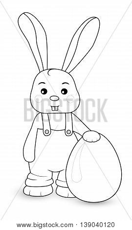 Rabbit boy stands in overalls with egg