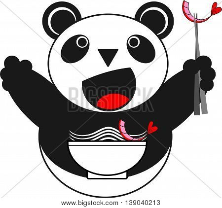 Vector illustration of a panda with a cup of Chinese noodles