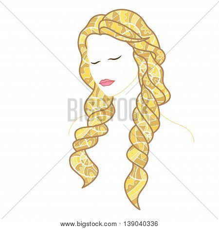 Beautiful woman with closed eyes and long blonde hair, decorated with doodles. Vector illustration