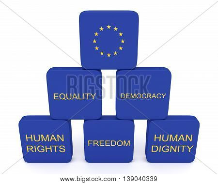 Pyramid: values of the European Union 3d illustration