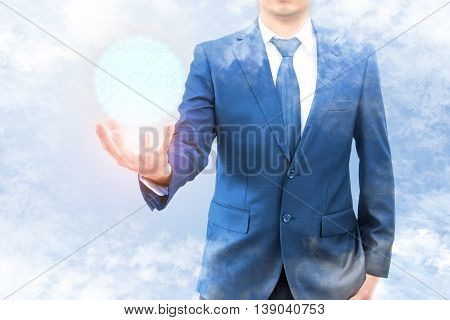 Double Exposure Of Businessman With Cloud And Blue Sky Hold Cyber World Network Connection On Hand,