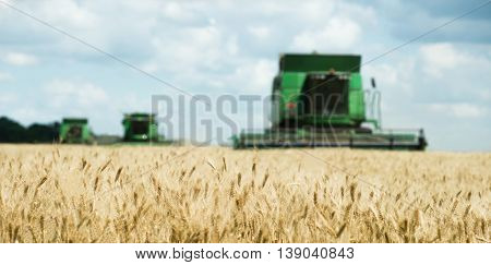 Three modern combine harvester working on a wheat crop