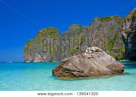 Rock And Island Near The Beach In Southern Of Thailand