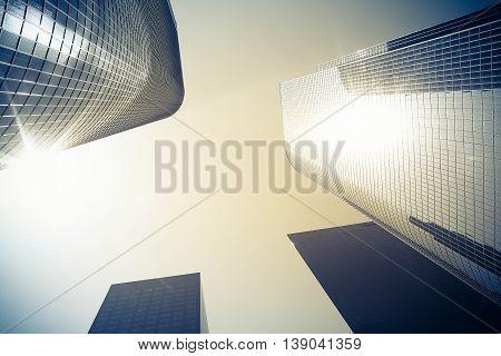 Modern glass skyscrapers in Los Angeles, America