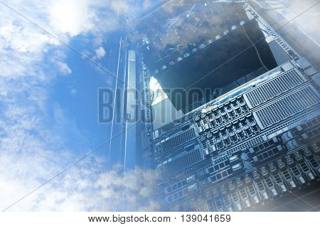 Cloud Servers Computing Technology In Datacenter Creative Concept