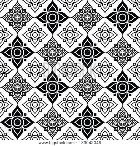 Seameless Thai pattern with tradional flower shapes