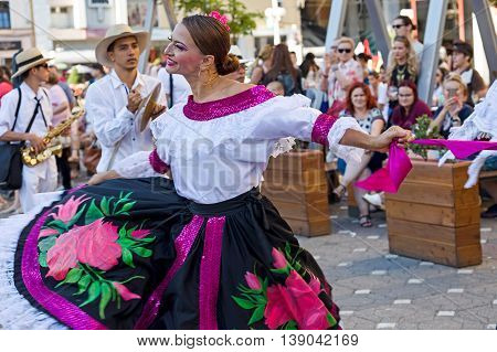 ROMANIA TIMISOARA - JULY 7 2016: Dancers from Colombia in traditional costume present at the international folk festival