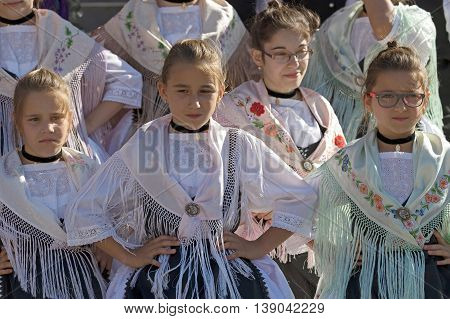 ROMANIATIMISOARA-JULY 7 2016:Young girls from Romania in traditional german costumepresent at the international folk festival