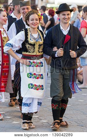 ROMANIA TIMISOARA - JULY 7 2016: Young Serbian dancers in traditional costume present at the international folk festival