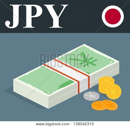 Abstract JPY banknotes and coins. Isometric style