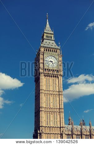 England, London - Big Ben, the great clock tower of the Houses of Parliament in London and its bell