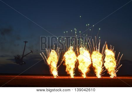 TUZLA,ROMANIA - JULY 02 : pilots performing at Tuzla airshow Aeromania on July 02, 2016 in Tuzla, Romania, the final fireworks show