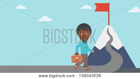 An african-american businessman walking on a road leading to the flag on the top of the mountain. Vector flat design illustration. Horizontal layout.