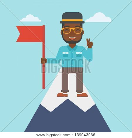 An african-american young happy businessman holding a red flag on the top of the mountain. Successful business concept. Vector flat design illustration. Square layout.