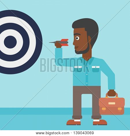 An african-american young businessman with briefcase aiming at a target board. Vector flat design illustration. Square layout.