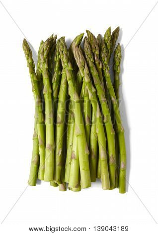 A bunch of asparagus tips isolated on a white background