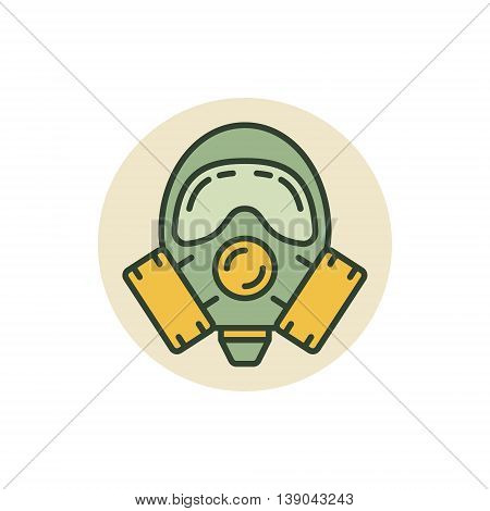 Gas mask vector icon. Colorful respirator or protective gas mask symbol or sign