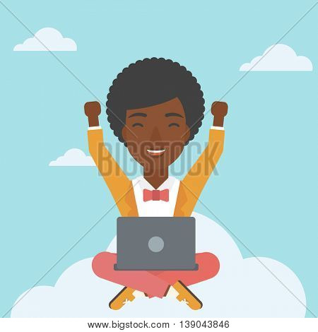 An african-american happy woman with raised hands sitting on a cloud with a laptop. Vector flat design illustration. Square layout.