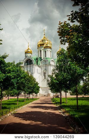 Ekaterina's Cathedral With Golden Domes. Pushkin. Russia