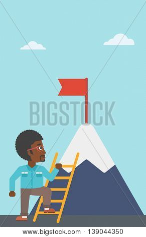 An african-american young businessman standing with ladder near the mountain. Businessman climbing the mountain with a red flag on the top. Vector flat design illustration. Vertical layout.