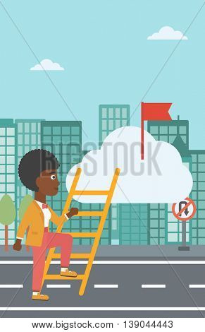 An african-american young business woman climbing up the ladder to get the red flag on the top of the cloud. Vector flat design illustration. Vertical layout.