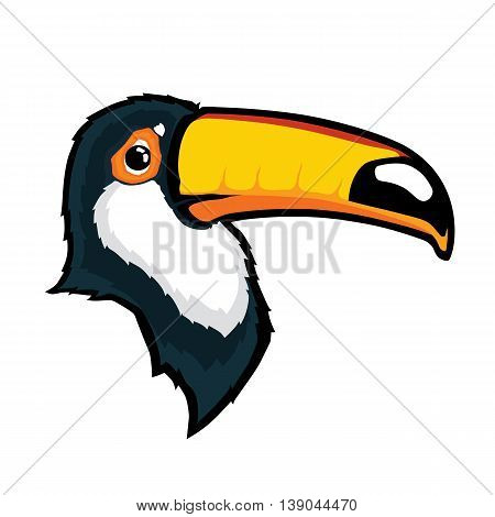Clipart picture of a toucan bird head cartoon mascot character