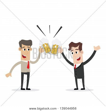 Clipart picture of a two smilling businessman cartoon character drinking beer and toasting