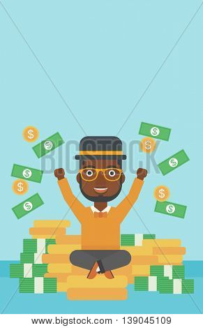 An african-american young businessman with raised hands sitting on golden coins and money flying around. Successful business concept. Vector flat design illustration. Vertical layout.