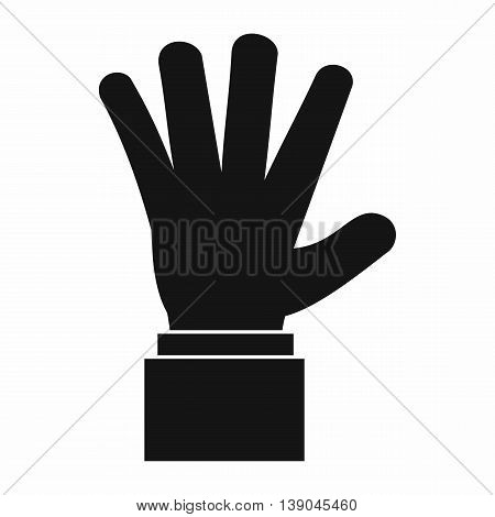 Hand showing five fingers icon in simple style isolated vector illustration