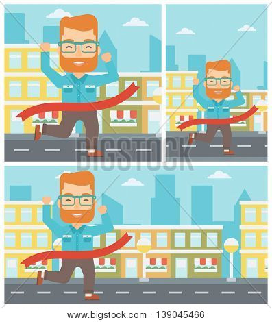 A hipster businessman with the beard running at the finish line. Businessman crossing finish line. Concept of business success. Vector flat design illustration. Square, horizontal, vertical layouts.