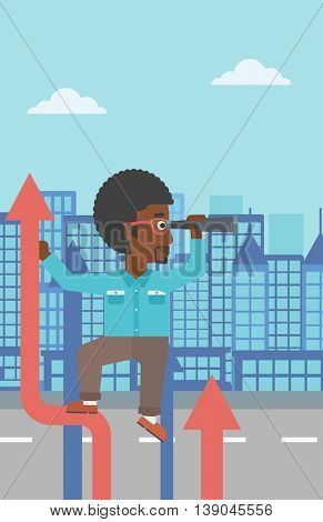 An african-american businessman standing on the top of arrow and looking through spyglass on the background of modern city. Vector flat design illustration. Vertical layout.