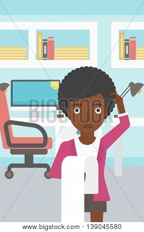 An african-american business woman standing in the office and holding a long bill. Concept of business bankruptcy. Vector flat design illustration. Vertical layout.