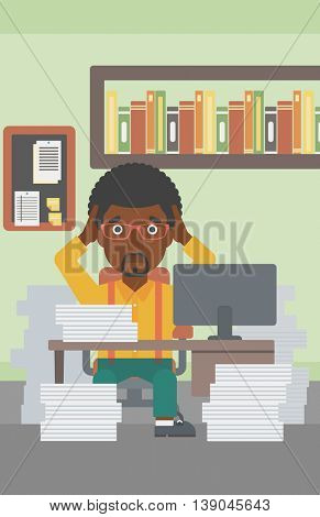 An african-american businessman in despair sitting at workplace with heaps of papers and clutching his head. Vector flat design illustration. Vertical layout.