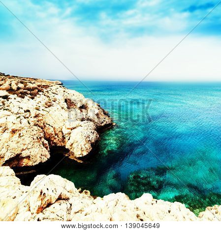 Blue sea blue sky and Paradise Tropical beach / Vacation holidays background