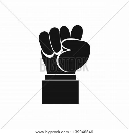 Raised up clenched male fist icon in simple style isolated vector illustration
