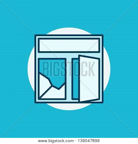 Broken window colorful icon. Flat creative cracked window symbol or sign on blue background