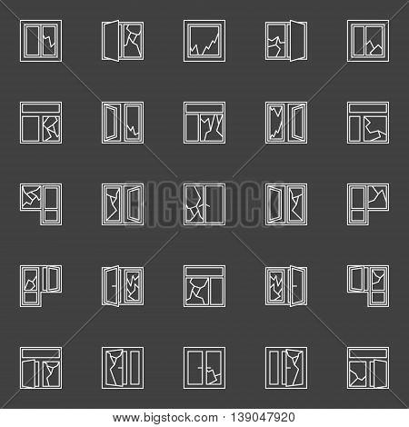 Broken window concept icons. Vector set of white window broken glass outline minimal symbols on dark background