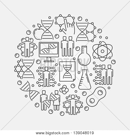 Genetics round illustration. Vector DNA and science concept symbol made with thin line icons