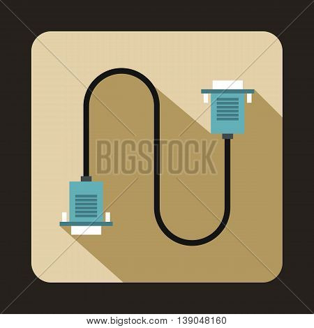 Cable wire computer icon in flat style on a beige background